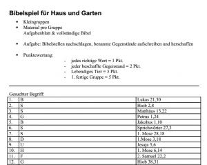 Screenshot Aufgabenliste Bibelspiel